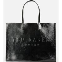 Ted Baker Womens Aevacon East/West Crinkle Patent Embossed Crosshatch Icon Bag - Black