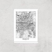 Munich City Map Giclee Art Print - A4 - Print Only