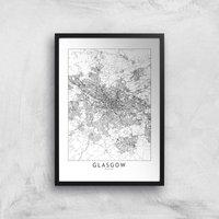 Glasgow City Map Giclee Art Print - A3 - Black Frame
