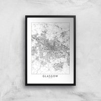 Glasgow City Map Giclee Art Print - A2 - Black Frame