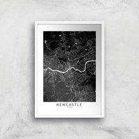 Negative Newcastle City Map Giclee Art Print - A4 - White Frame
