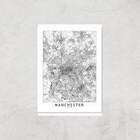 Manchester City Map Giclee Art Print - A4 - Print Only
