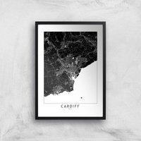 Negative Cardiff City Map Giclee Art Print - A3 - Black Frame