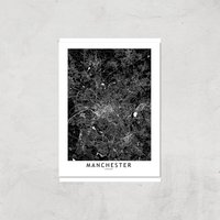 Negative Manchester City Map Giclee Art Print - A4 - Print Only