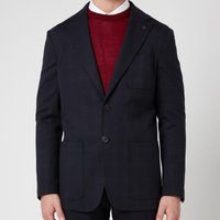 Canali Men's Two Button Vented Patch Pocket Unstructured Jersey Jacket - Black - IT 52