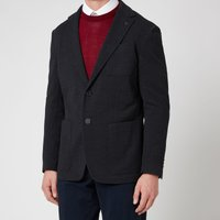 Canali Men's Two Button Vented Patch Pocket Unstructured Jersey Jacket - Navy - IT 50