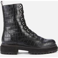 Kurt Geiger London Womens Siva Croc Print Leather Lace Up Boots - Black - UK 8