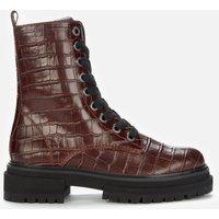 Kurt Geiger London Women's Siva Croc Print Leather Lace Up Boots - Wine - UK 7