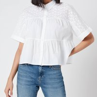 Tommy Jeans Womens Gather Detail Blouse - White - M