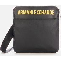 Armani Exchange Mens Logo Flat Messenger Bag - Black