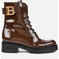 Balmain Women's Ranger Boot Patent Leather - Dark Brown - UK 3