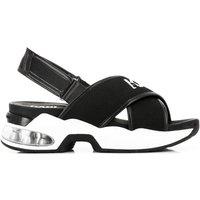 KARL LAGERFELD Women's Ventura Karl X-Strap Sling Sandals - Black Knit Textile - EU 38/UK 5