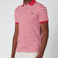 Polo Ralph Lauren Mens Interlock Striped Slim Fit Polo Shirt - Sunrise Red/White - S
