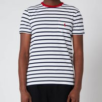 Polo Ralph Lauren Mens Striped Crewneck T-Shirt - White/French Navy - M