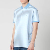 Polo Ralph Lauren Men's Interlock Striped Custom Fit Polo Shirt - Cabana Blue/White - L