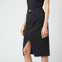 Calvin Klein Jeans Womens High Rise Midi Skirt - Denim Black - W28
