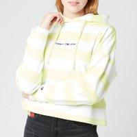 Tommy Jeans Women's TJW Boxy Stripe Hoodie - Faded Lime - M