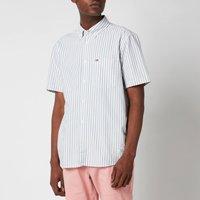 Tommy Jeans Men's Striped Short Sleeve Shirt - Cinder Blue/White - XXL
