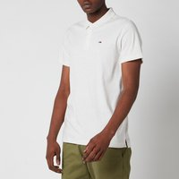 Tommy Jeans Mens Essential Jersey Polo Shirt - White - XL