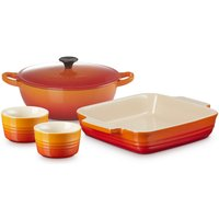 Le Creuset Stoneware Soup Pot, Square Dish and Ramekins Set - Volcanic