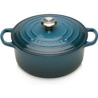 Le Creuset Signature Cast Iron Round Casserole Dish - 20cm - Deep Teal