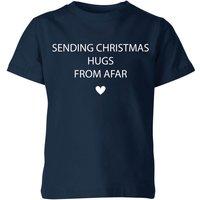 Sending Christmas Hugs From Afar Kids' T-Shirt - Navy - 7-8 Years - Navy