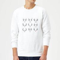 Graphical Santas Reindeers Sweatshirt - White - L - White