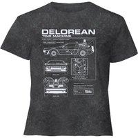 Back To The Future Delorean - Women's Cropped T-Shirt - Black Acid Wash - L - Black Acid Wash