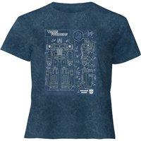 Transformers Optimus Prime Schematic - Women's Cropped T-Shirt - Navy Acid Wash - XL - Navy Acid Was