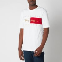 Tommy Hilfiger Men's Relaxed Fit Signature Flag T-Shirt - White - XL