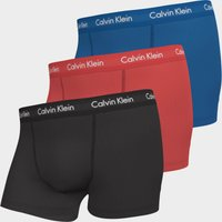 Calvin Klein Men's Cotton Stretch 3 Pack Trunks with Contrast Waistband - Kettle Blue/Strawberry Fie