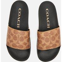 Coach Women's Udele Coated Canvas Slide Sandals - Tan - UK 5