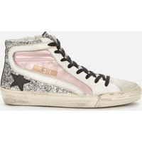 Golden Goose Deluxe Brand Women's Slide Leather Hi-Top Trainers - Salmon Pink/Silver/Ice - UK 3