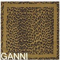 Ganni Women's Leopard Print Scarf - Olive Drab