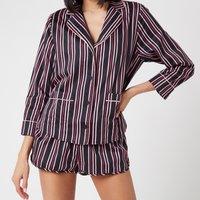 Les Girls Les Boys Women's Girls PJ Top - Black Stripe - M