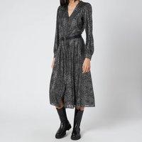 MICHAEL MICHAEL KORS Womens Galaxy Midi Shirt Dress - Black/Silver - XS