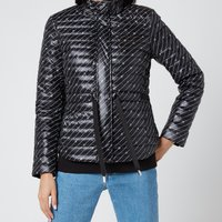 MICHAEL MICHAEL KORS Womens Belted Packable Puffer Coat - Black/White - M