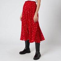 MICHAEL MICHAEL KORS Womens Signature Logo Pleated Skirt - Crimson - M