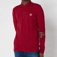BOSS Casual Mens Passerby Long Sleeve Polo Shirt - Dark Red - L