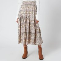 Free People Womens All About The Tiers Print Skirt - Pop Combo - L
