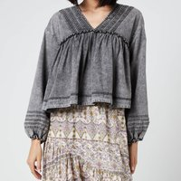 Free People Womens Charlotte Denim Blouse - Black Wash - L