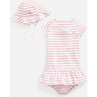Polo Ralph Lauren Baby Stripe Dress, Hat And Teddy Gift Set - Bright Pink - 6 Months