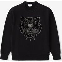 KENZO Women's Velvet Tigerhead Embroidered Crewneck Sweatshirt - Black - XS