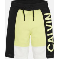 Calvin Klein Jeans Boy's Colour Block Logo Jogger Shorts - Yellow Lime - 12 Years