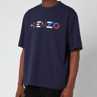 KENZO Men's Multicolour Logo T-Shirt - Navy Blue - L