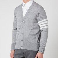 Thom Browne Men's Engineered Four-Bar Stripe Wool Cardigan - Light Grey - 4/XL