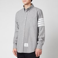Thom Browne Men's Printed Four-Bar Sleeve Straight Fit Button Down Shirt - Grey - 3/L