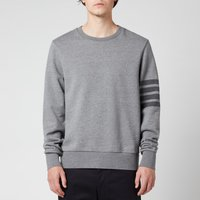 Thom Browne Men's Tonal Four-Bar Stripe Relaxed Fit Crewneck Sweatshirt - Medium Grey - 4/XL