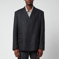 Maison Margiela Men's Lambswool Collarless Jacket - Dark Grey Melange - 52/XL