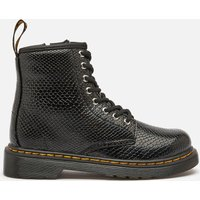 Dr. Martens Kids' 1460 Patent Lamper Lace Up Boots - Black Reptile Emboss - UK 1 Kids